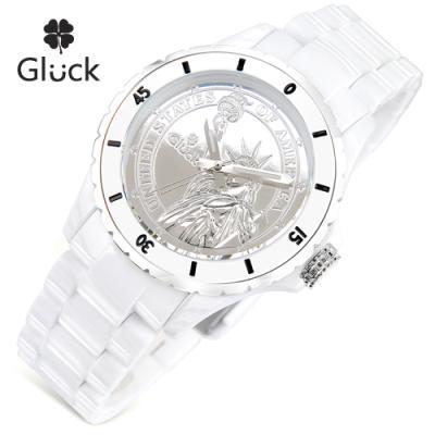 [Gluck]글륵 행운의 시계 GL1312-WH 본사정품 남여공용
