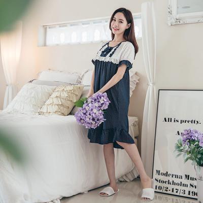 [쿠비카]큐티 리본 화이트 도트 원피스 여성잠옷 W180