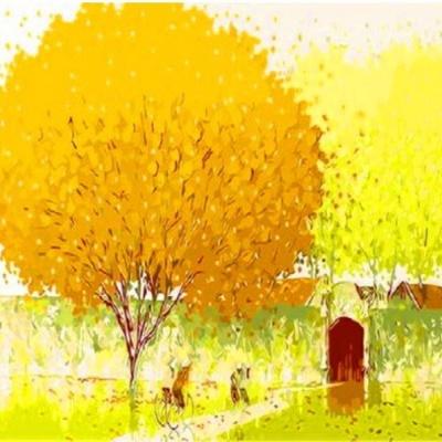Q474행운의나무 size 40*50cm(물감2배)