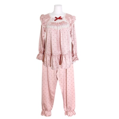[쿠비카]도트 소매밴딩 투피스 여성잠옷 W695
