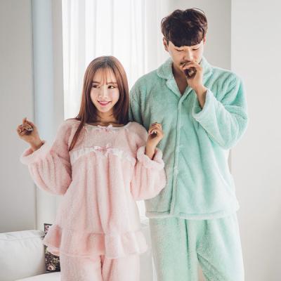 [쿠비카]극세사 넥리본 커플투피스(핑크)잠옷 WM062
