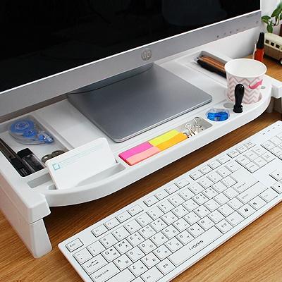 컴퓨터 모니터선반(받침대&데스크정리)200 화이트