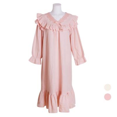 [쿠비카]프릴 이중 거즈면 원피스 여성잠옷 W522