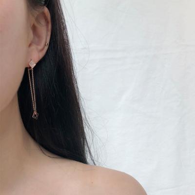 14k 시크 사각 체인 원터치 귀걸이