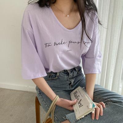 [애슬릿]국내 면100% 여성 오버핏 브이넥 반팔 티셔츠
