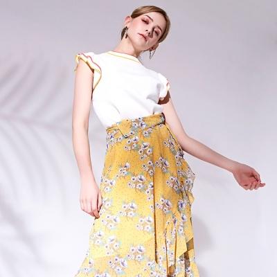 플로럴 맥시 랩스커트 Floral maxi wrap skirt_YELLOW