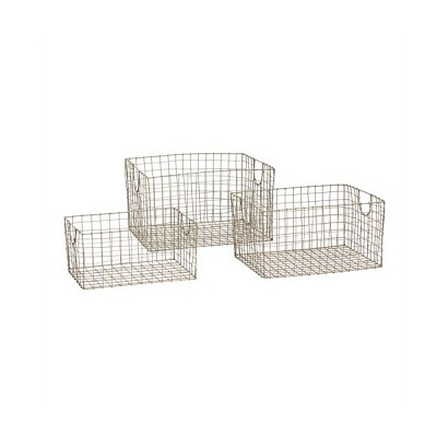 [Hubsch]Zinc basket, square, set of 3 777002 스토리지바스켓