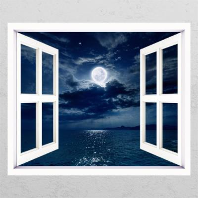tm644-보름달이떠있는바다_창문그림액자