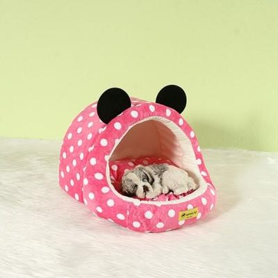 캐릭터 동굴 강아지 고양이 집 핑크도트 중형