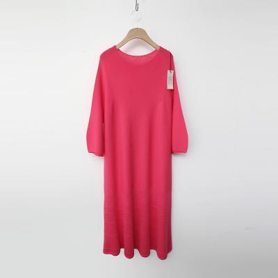 Laine Wool Puff Flare Long Dress - 7부소매