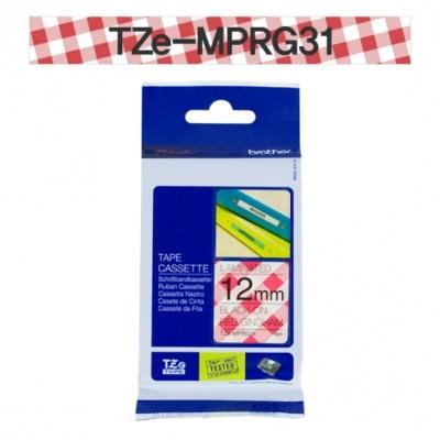 [부라더정품]라벨테이프 TZe-MPRG31(12mmx 4M) (체크패턴바탕/검정글씨)