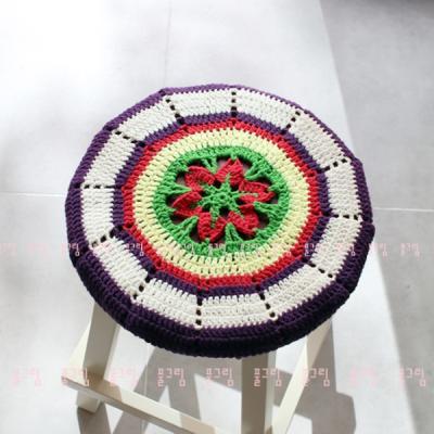손뜨개 코바늘 원형 스툴커버 방석