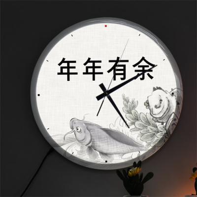 nf480-LED시계액자35R_재물복잉어그림