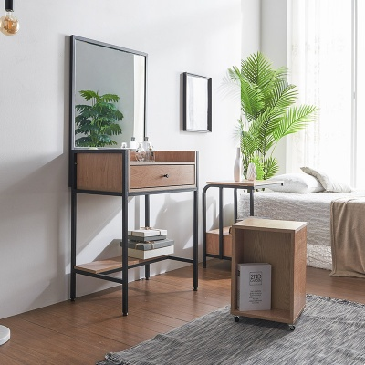 플리드 스틸 심플 화장대+의자 세트