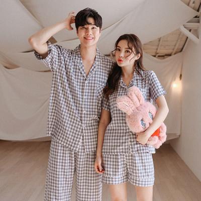 [쿠비카]시원한 고방체크 3부 숏팬츠 커플잠옷 WM159