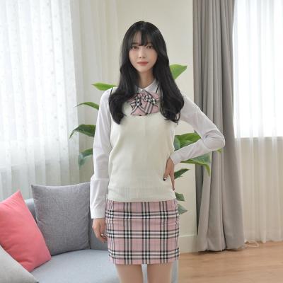 [허리조절] 베이비 핑크체크 치마 교복치마 스커트