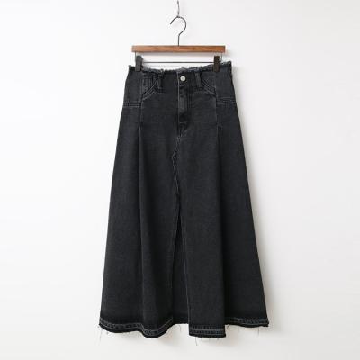Black Denim A-Line Long Skirt