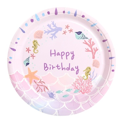 생일 파티접시 18cm (10개입) 인어공주