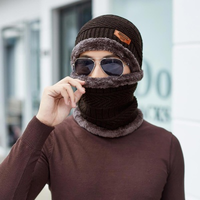 레이크 넥워머 방한 비니 모자 세트(브라운) (남성용)