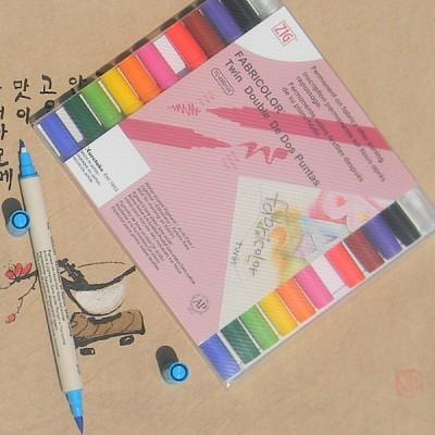 [Kuretake] 옷,신발,천에 그리는 직물마카-일본 쿠레다케 지그 트윈닙 패브릭마카 12색세트 F134-1