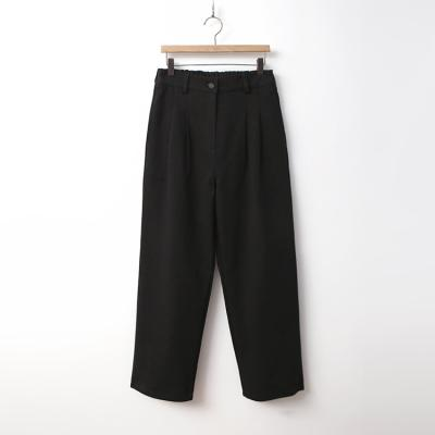 Cotton Pleat Front Wide Pants