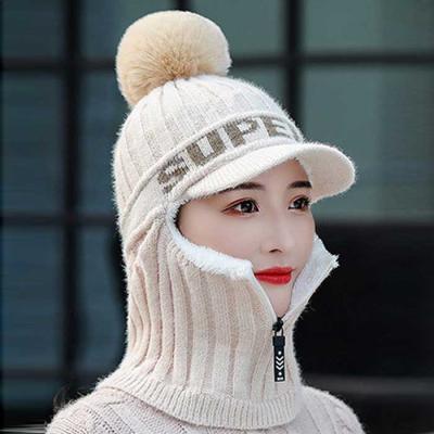 Mujer Invierno knit 올인원 넥지퍼 방울챙모자 3컬러