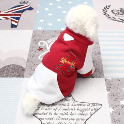 [펫딘]래글런 포켓 배색 점퍼 버튼 강아지옷 아우터