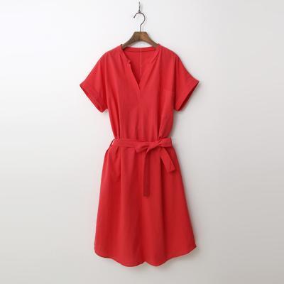 Linen Cotton Pocket Tie Dress