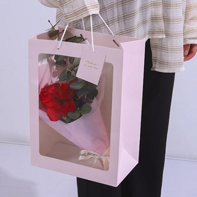 투명창 윈도우 꽃다발 꽃 플라워 사각 쇼핑백 2size