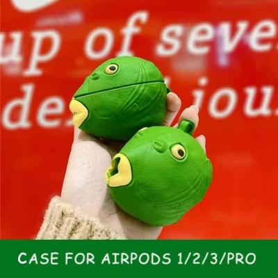 에어팟 pro/2/1 특이한 초록 물고기 괴물 젤리 케이스