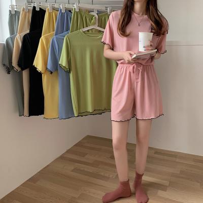 여성 홈웨어 잠옷 세트 파자마 배색 웨이브라인
