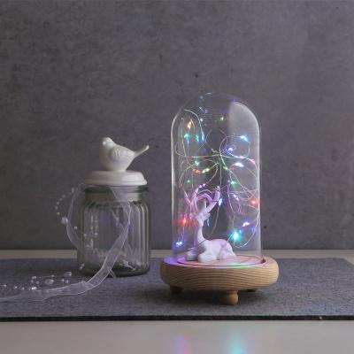 LED 무드 원목 유리돔 슬림 글라스돔 (중)