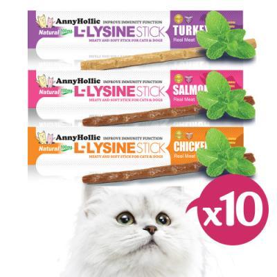 애니홀릭 엘라이신 스틱x10P (3종 맛선택) 고양이간식