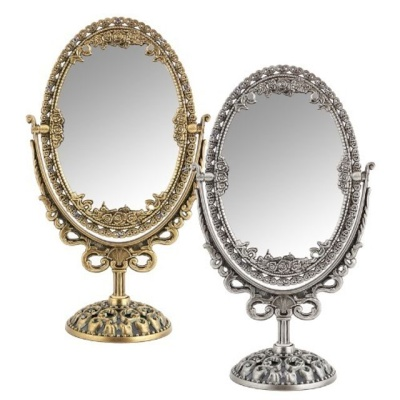 큐빅 타원 거울(소25x14cm)(주석) 탁상거울 미용거울
