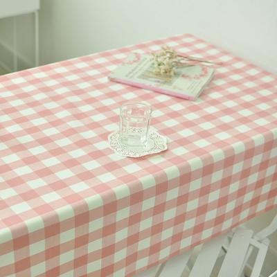 3cm체크 방수식탁보(핑크 2인~10인용)