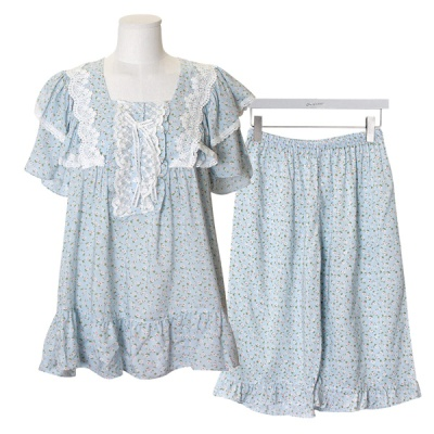[쿠비카]스퀘어넥 레이스 장식 투피스 여성잠옷 W583