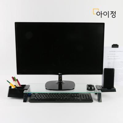 스마트독브릿지 USB 모니터받침대 S317 투명유리/블랙