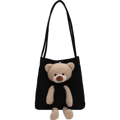 귀여운 곰돌이 캐릭터 캔버스 숄더 에코백 학생 가방