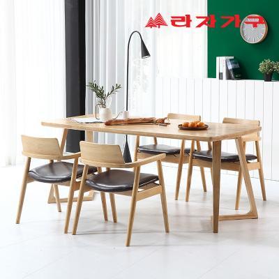 쿠니 고무나무 원목 4인 와이드 식탁 세트 의자형
