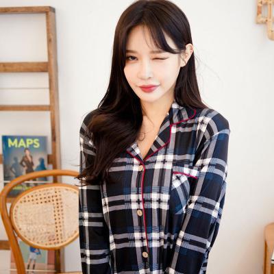 메리핀 피치기모 체크 여성 긴팔 잠옷 상하세트