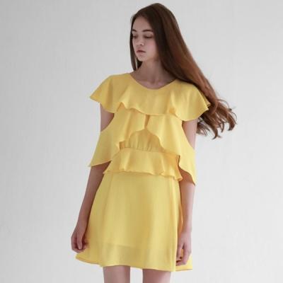러플 윙 쉬폰 드레스_옐로우