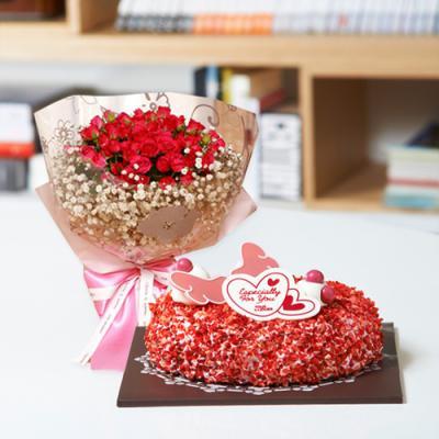뚜레쥬르 딸기케익+장미꽃다발(꽃배달,케익배달,케익,생일선물)