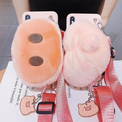 갤럭시노트8 돼지 캐릭터 지갑 파우치 스트랩 케이스