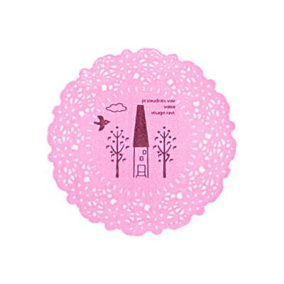 투명 핑크 도일리 스티커 10개