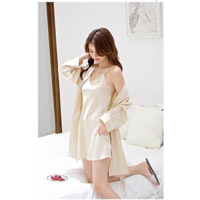 실키나잇 여성 슬립 잠옷세트 (골드베이지) (XL)