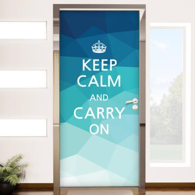 co119-keep calm and carry on(블루)_현관문방문시트지