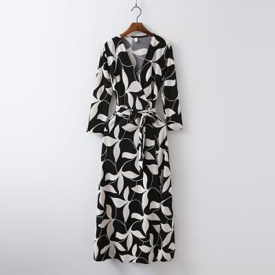 Leaf Wrap Long Dress - 긴팔