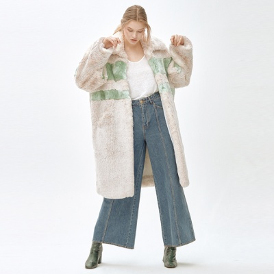 ANGIE stripie point long coat_green
