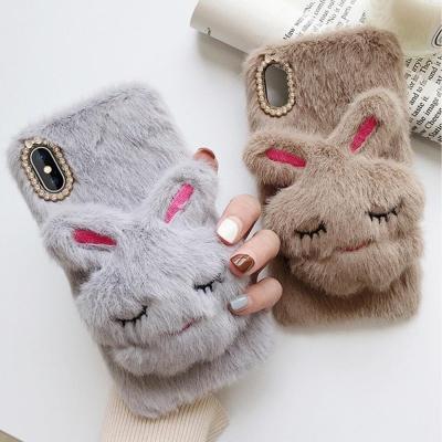 갤럭시S10 S10플러스 토끼거치대 털 퍼 핸드폰 케이스