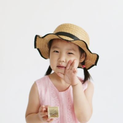 SB-1 미니 물결리본 왕골햇 / 왕골모자 / 라탄모자